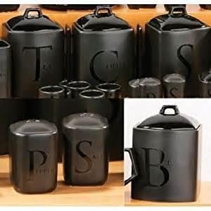 black ceramic tea coffee sugar biscuit salt pepper jar kitchen storage set co uk