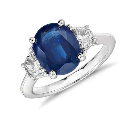 oval sapphire and ring in platinum 10x8mm blue