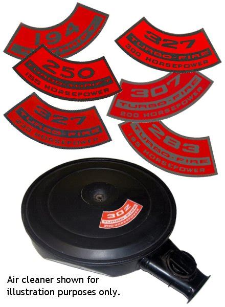 Auto Restoration Decals by Repro Chevy Air Cleaner Decals Restoration Collector