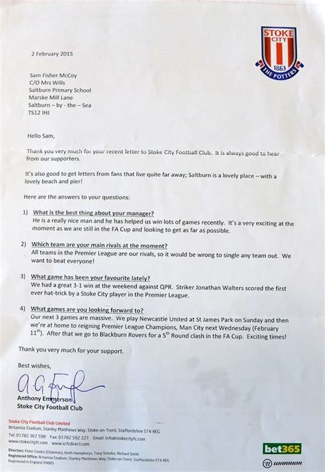 Release Letter From Soccer Club How Do Premier League Sides Respond To Mail From Fans This School Project Finds Out