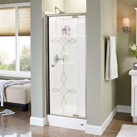 Shower Doors Ta Delta Silverton 31 In X 66 In Semi Frameless Pivot Shower Door In Nickel With Tranquility