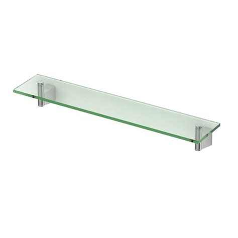 Chrome And Glass Bathroom Shelves Gatco Bleu 20 12 In L X 2 7 In H X 4 In W Glass Bathroom Shelf In Chrome 4716 The Home Depot