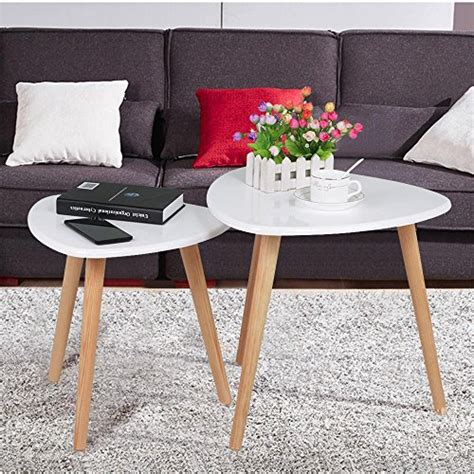 sofa table and end table set yaheetech white gloss wood nesting tables living room sofa