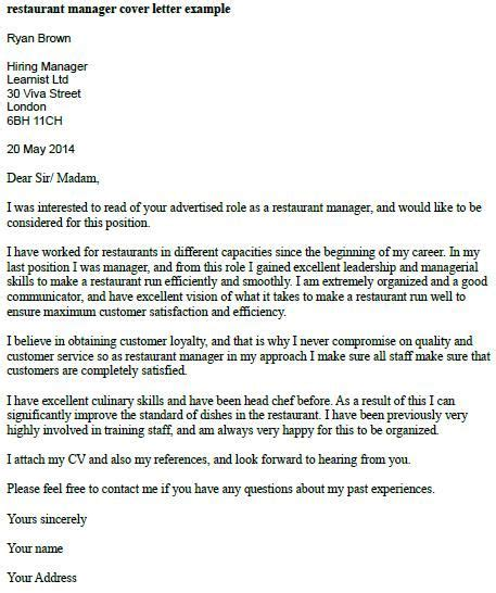 restaurant manager cover letter  learnistorg