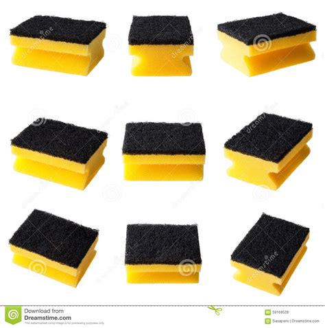 kitchen cleaning sponge isolated set stock photo image