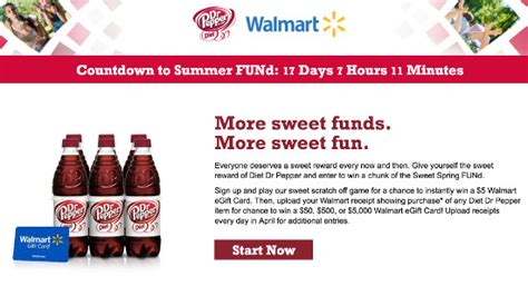 Dr Pepper Giveaway - enter for chance to win summer fund event for walmart egift cards 5 5 000