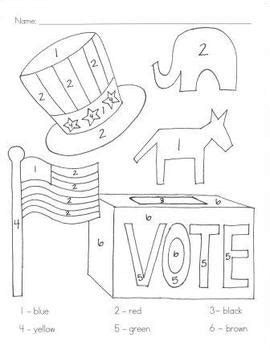 election day coloring pages preschool kindergarten election day coloring by number get