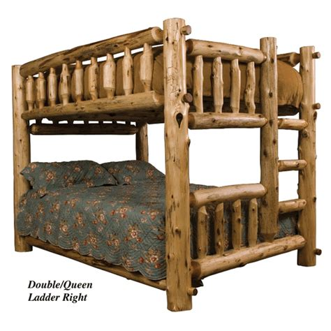queen log bed fireside queen over queen cedar log bunk bed