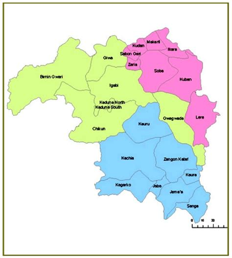 kaduna map maps of various states and their local governments in