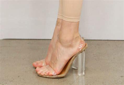 see through high heeled shoes leaves office in kanye s unreleased yeezy heels