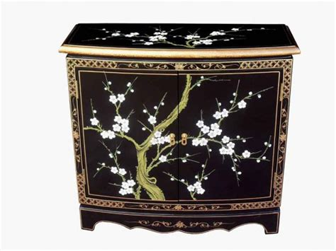 Wooden Stands For Vases Chinese Oriental Cabinet Black Lacquer Furniture