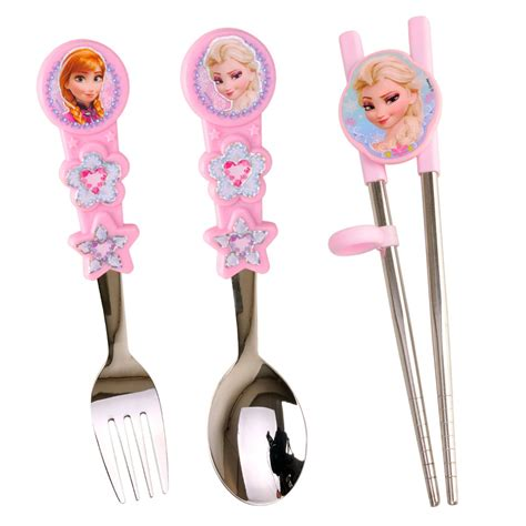 Disney Frozen Breakfast Set Pink disney frozen cutlery stainless flatware meal