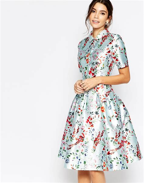 Snchi Chi lyst chi chi midi dress on sateen with collar and