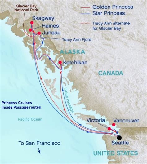 princess cruises routes alaska cruise routes inside passage or cross gulf of