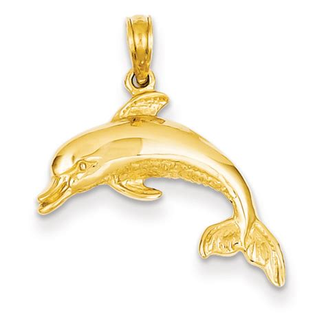 14k Gold Dolphin Pendant goldia 14k yellow gold dolphin swimming pendant