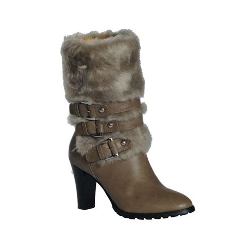 womans fur boots dimecity telluride buckle heels faux fur boots for