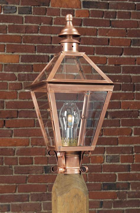copper l post lantern reproduction colonial copper post light lights