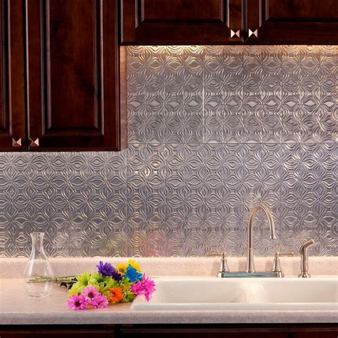 decorative kitchen backsplash fasade 24 in x 18 in lotus pvc decorative tile