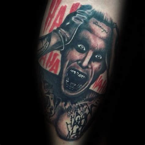 joker tattoo on leg 90 joker tattoos for men iconic villain design ideas