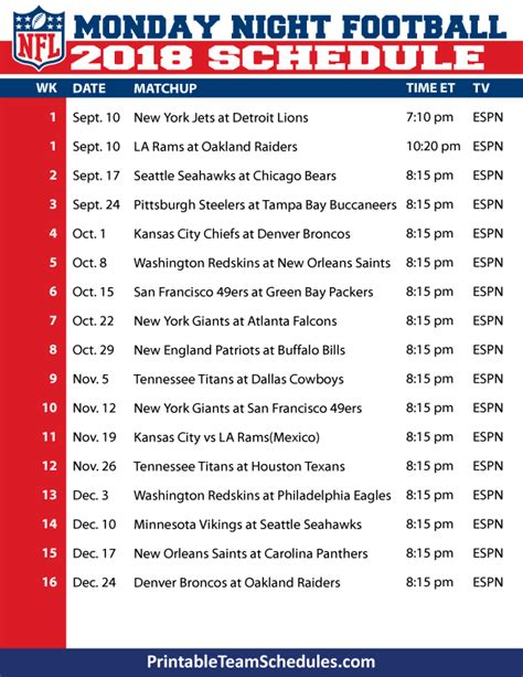 Printable Nfl Monday Night Football Schedule 2015 | printable 2016 tv nascar schedule calendar template 2016