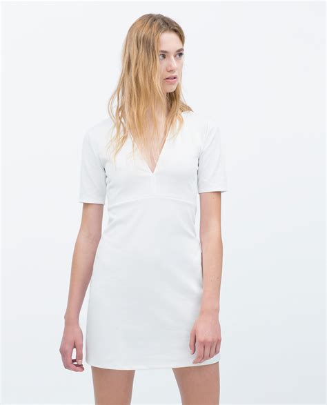 Dress Zara V zara v neck dress in white lyst