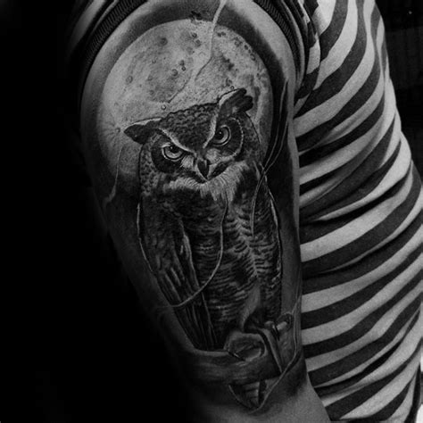owl and moon tattoo 50 owl sleeve tattoos for nocturnal bird design ideas