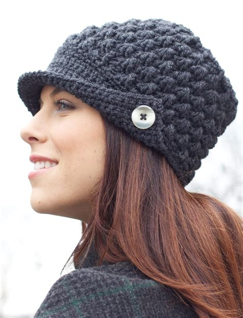 patons s peaked cap crochet pattern yarnspirations