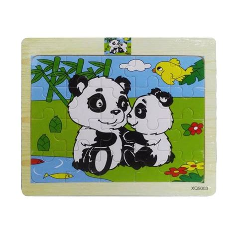 Mainan Kayu Edukatifedukasi Puzzle Hewan Isi 3 jual momo animal panda kayu mainan puzzle harga