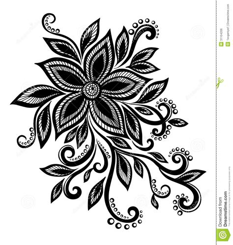 design black and white beautiful black and white flower with imitation lace eyelets design element royalty free stock