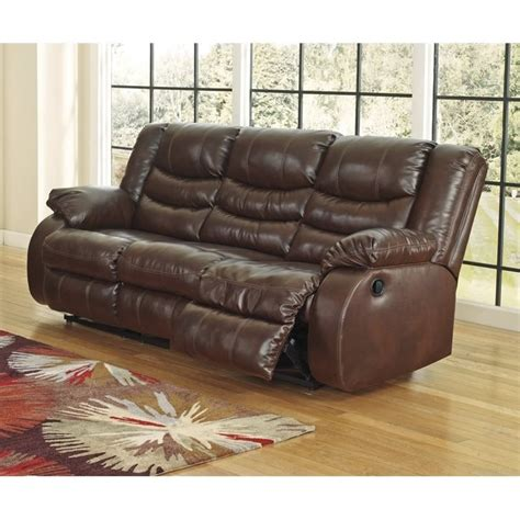 Ashley Linebacker Leather Reclining Sofa In Espresso 9520188 Espresso Reclining Sofa