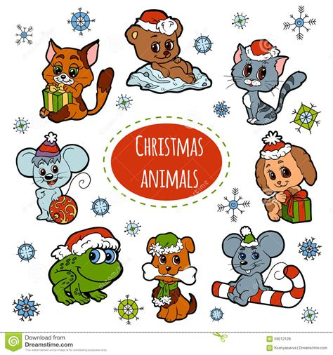 christmas animals animated vector set of animals color stickers stock vector illustration of character