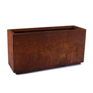 veradek metallic series corten steel rectangular planter