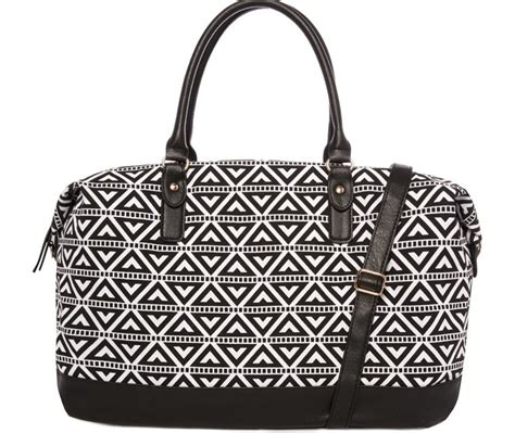 Large Printed Holdall From Primark by A Really Trendy Monochrome Triangle Print Weekend Bag For