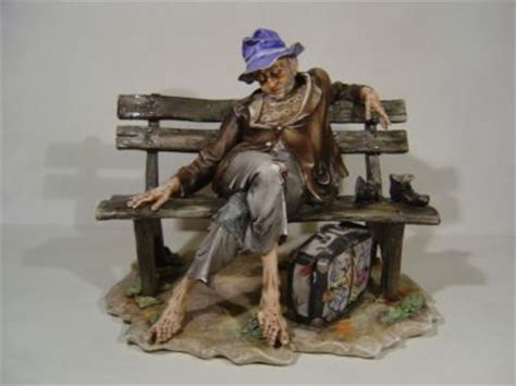 capodimonte man on bench capodimonte porcelain figure tramp old man on bench