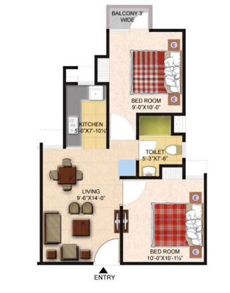 how big is 650 sq ft 2 bhk 650 sq ft floor plan
