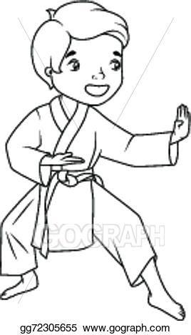karate boy coloring page vector art coloring book little boy wearing kimono