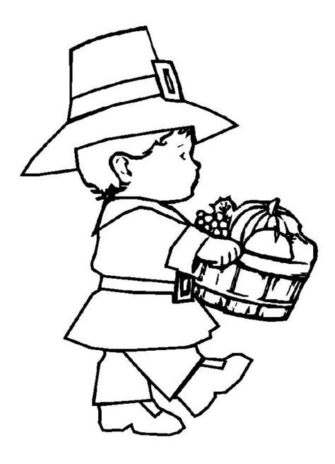 little girl pilgrim coloring page little pilgrim boy holding fruit barrel on thanksgiving