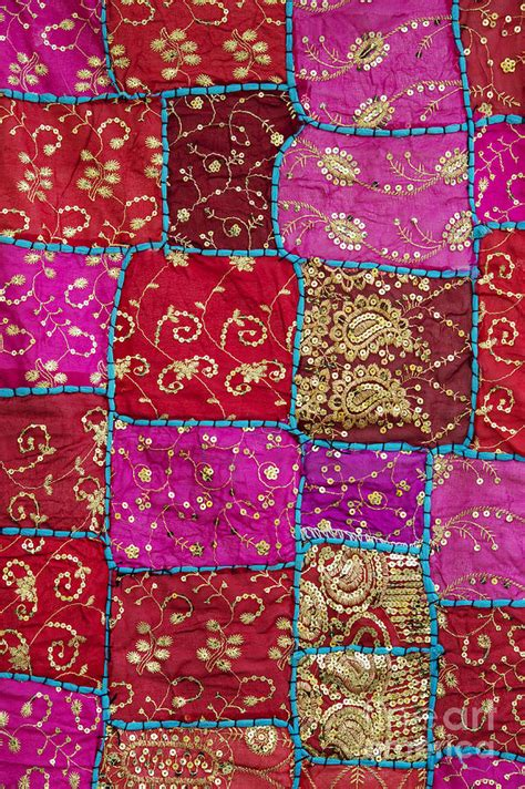 Indian Patchwork Wall Hanging - pink patchwork indian wall hanging photograph by tim gainey