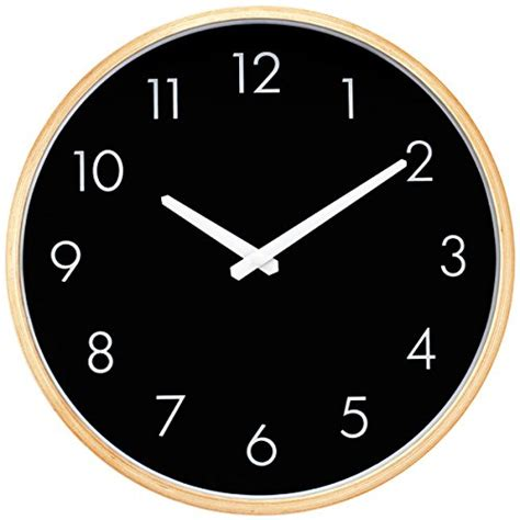 amazon com hippih silent wall clock wood 12 inch non ticking large indoor outdoor hippih silent wall clock wood 12