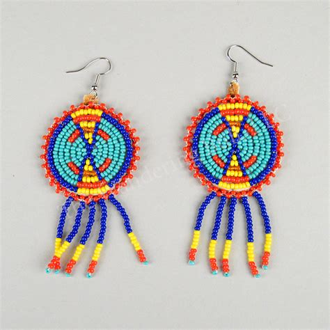 beaded rosette patterns beaded rosette earrings blue the wandering bull llc
