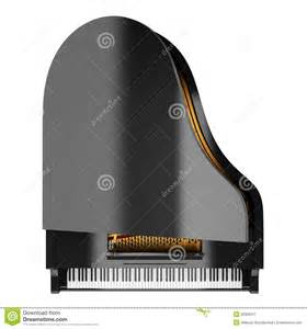 Top view of black grand piano isolated on white stock image