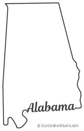 alabama map outline printable state shape stencil