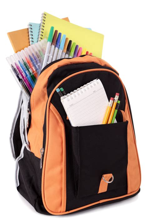school bag with accessories photo free download