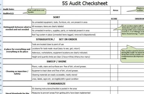 5s audit check sheet else inc
