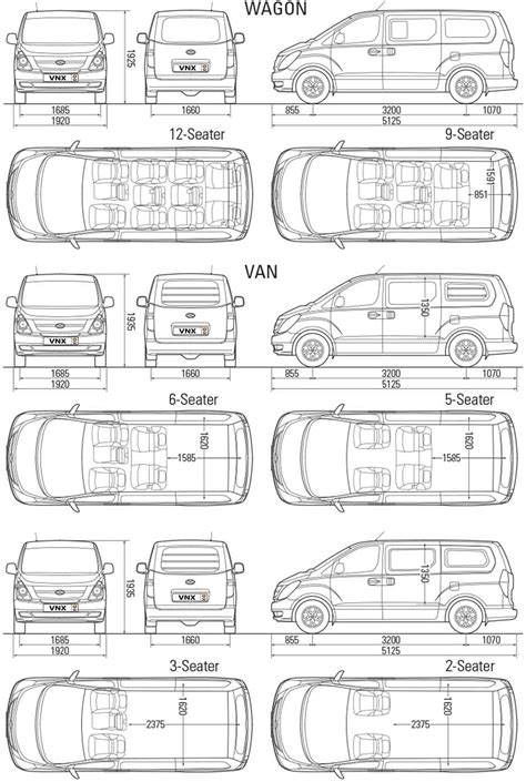 Dimensions Of by Hyundai H1 2008 Specifications