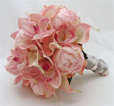 peonies and orchids bridal bouquet peonies calla lilies cymbidium orchid pink