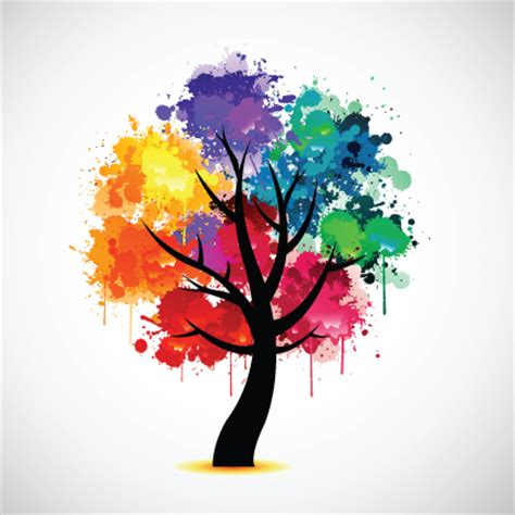 colored trees creative colorful tree design elements vector 05 vector
