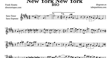 frank saxophone tubescore new york new york by frank sinatra sheet