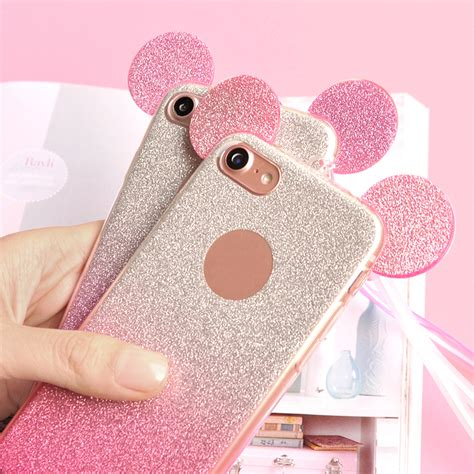 Iphone 6 6s 3d Mickey Minnie Casing Armor Be Murah 3d minnie mickey mouse ears glitter for iphone 6 cases 6s 7 plus 5 5s se silicon tpu cover