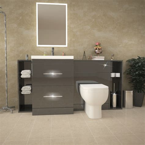 Where To Buy Bathroom Furniture Patello 1600 Fitted Bathroom Furniture Grey Buy At Bathroom City